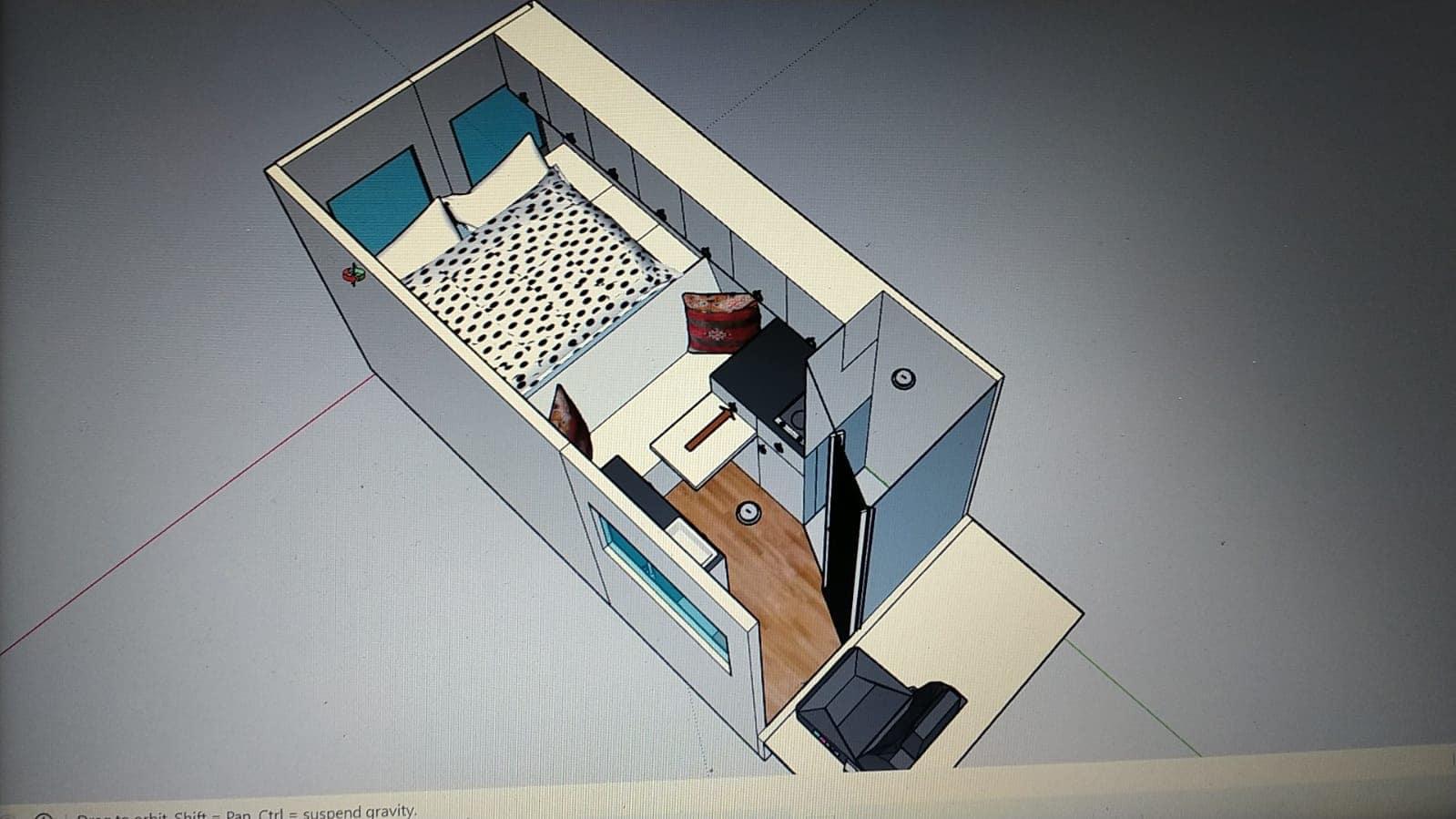 Het model van de bus in Sketchup | Camper bouwen