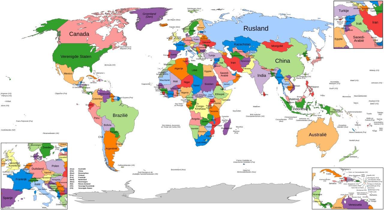 Alle landen op de wereldkaart