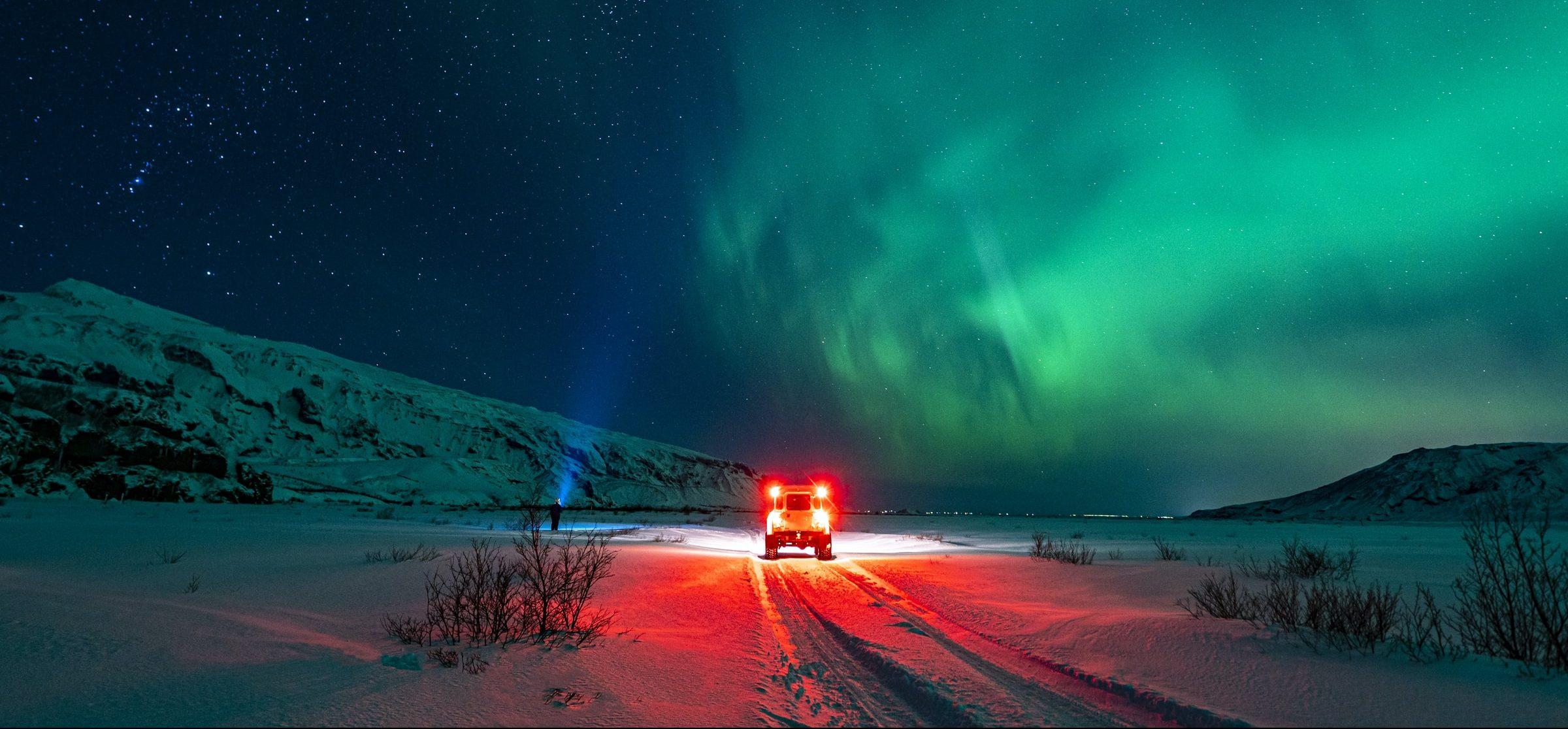 Noorderlicht in Skógar, Ijsland