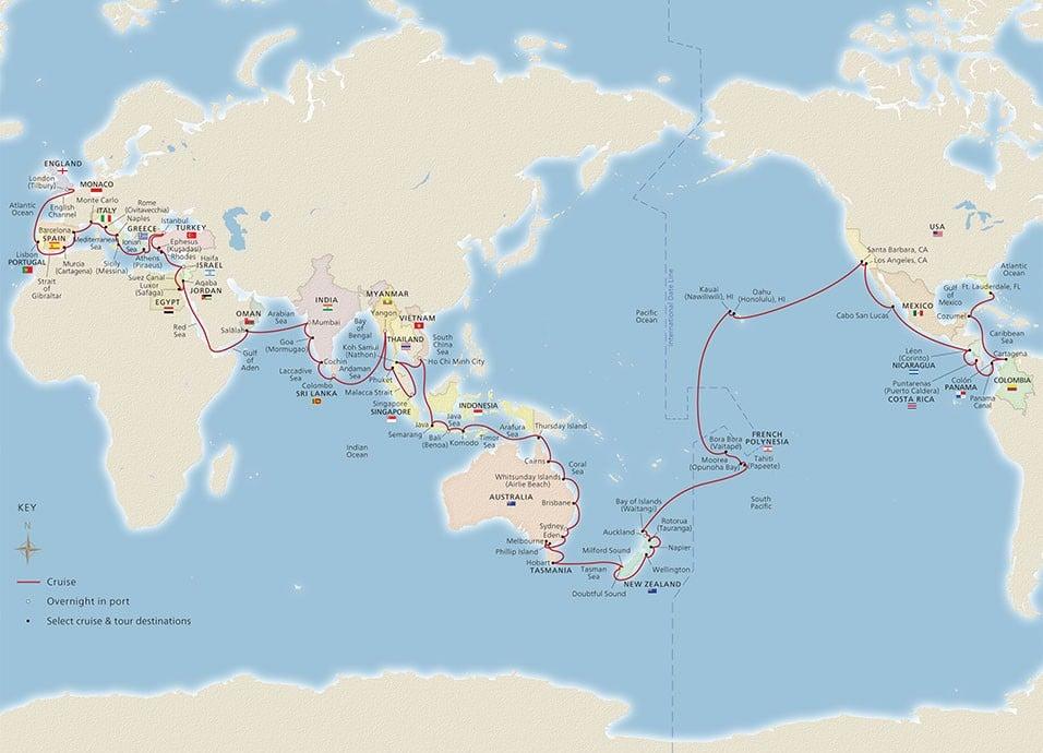 2021-2022 Viking World Cruise Itinerary Map