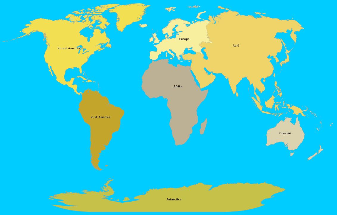 De 7 continenten van de wereld - topografie