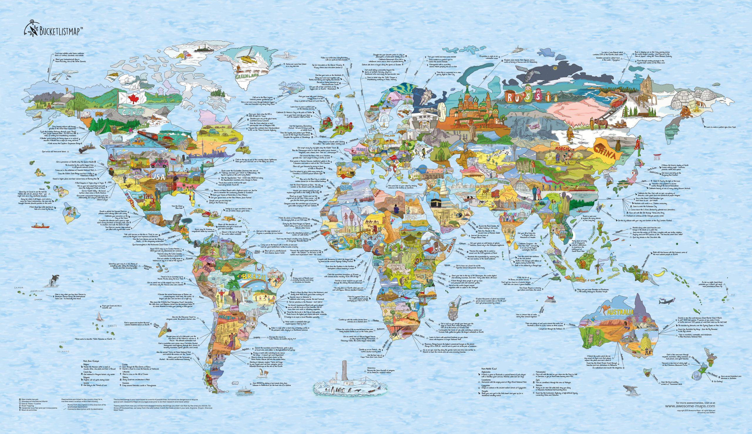 Bucketlist wereldkaart uit de Wereldreizigers webshop