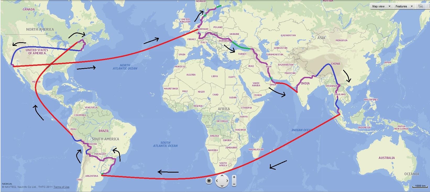 Wereldreis | Route voorbeeld