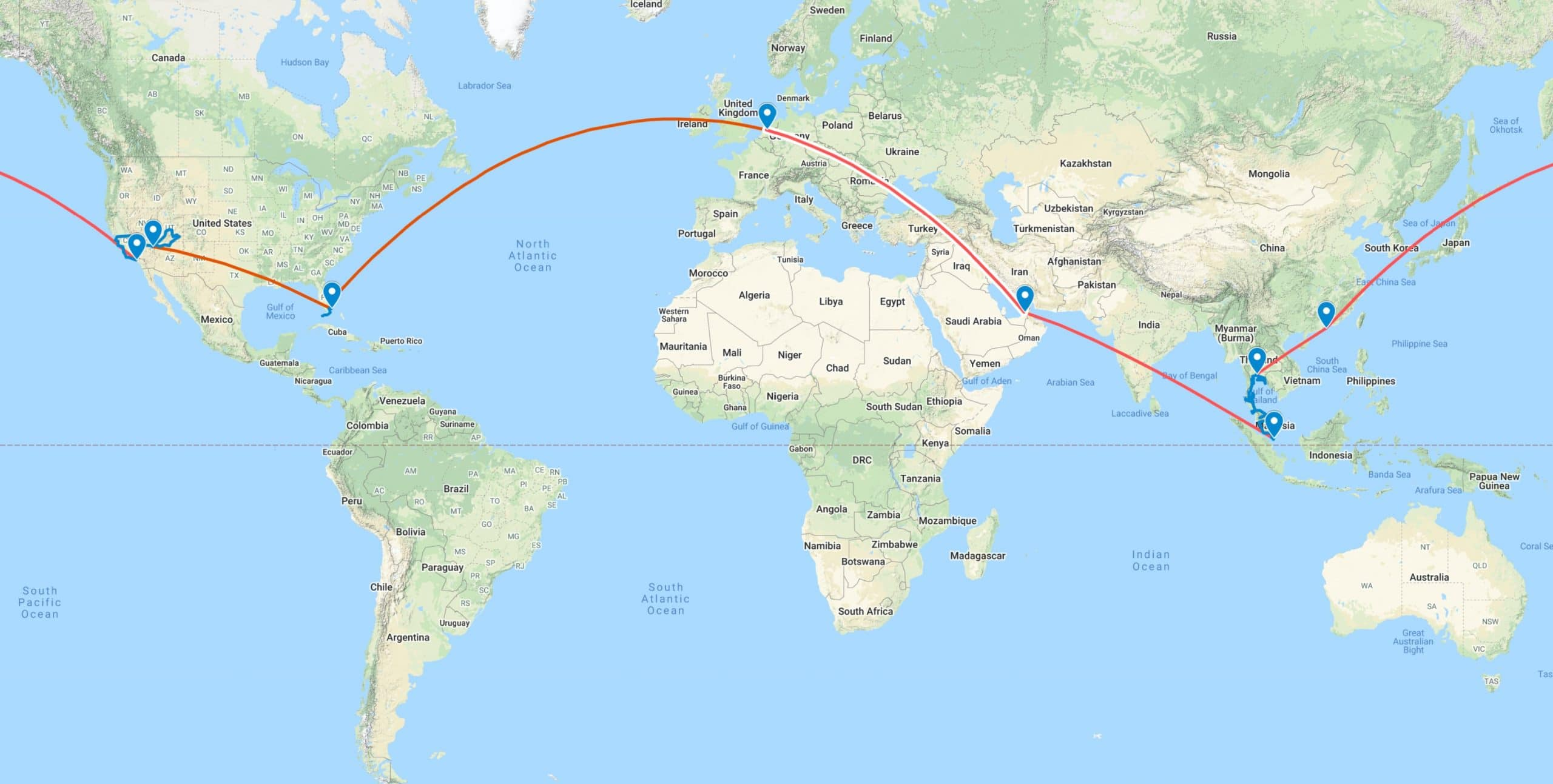 goedkope wereldreis route