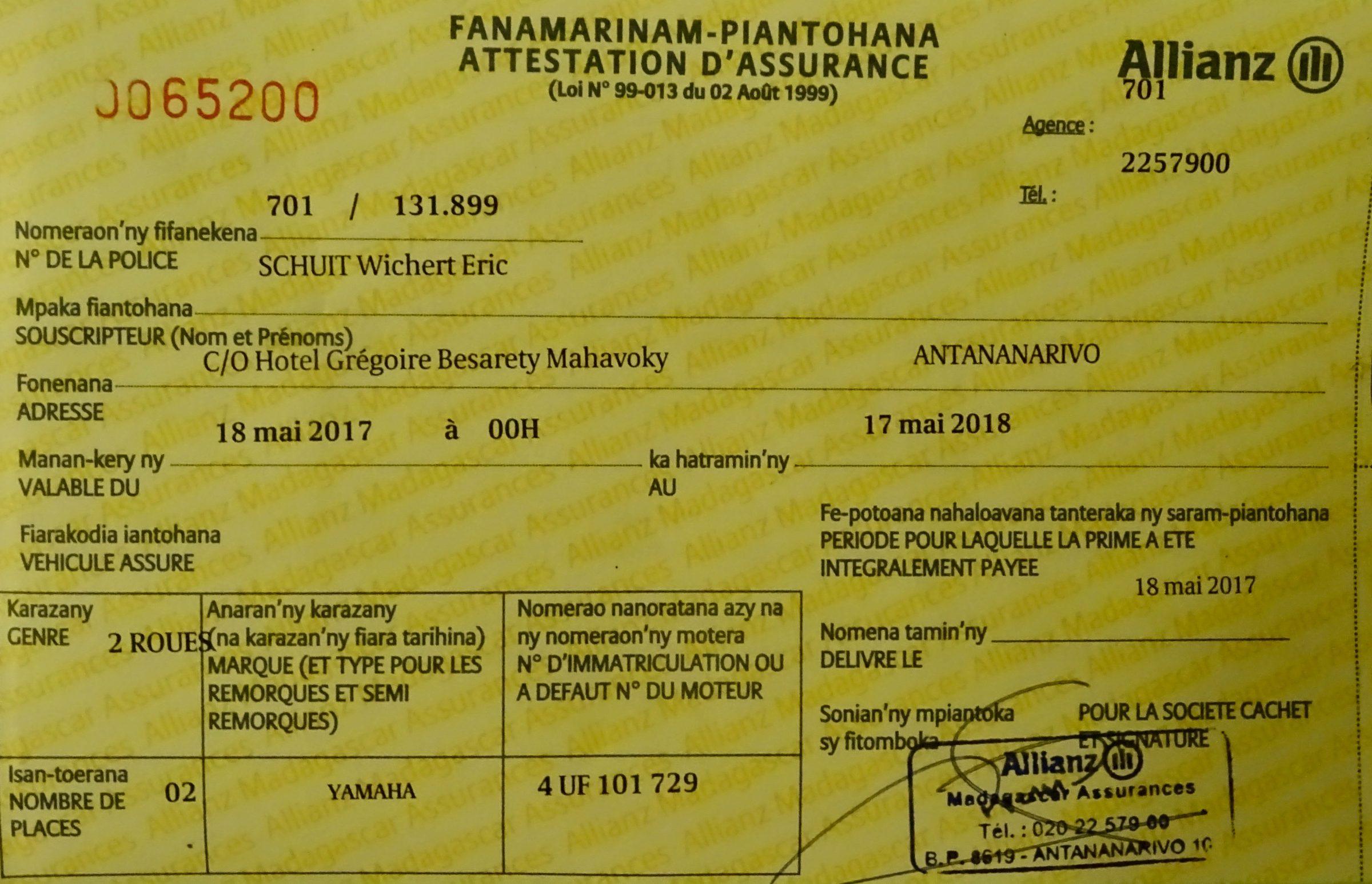 Aansprakelijkheidsverzekering voor de scooter van Allianz Madagaskar