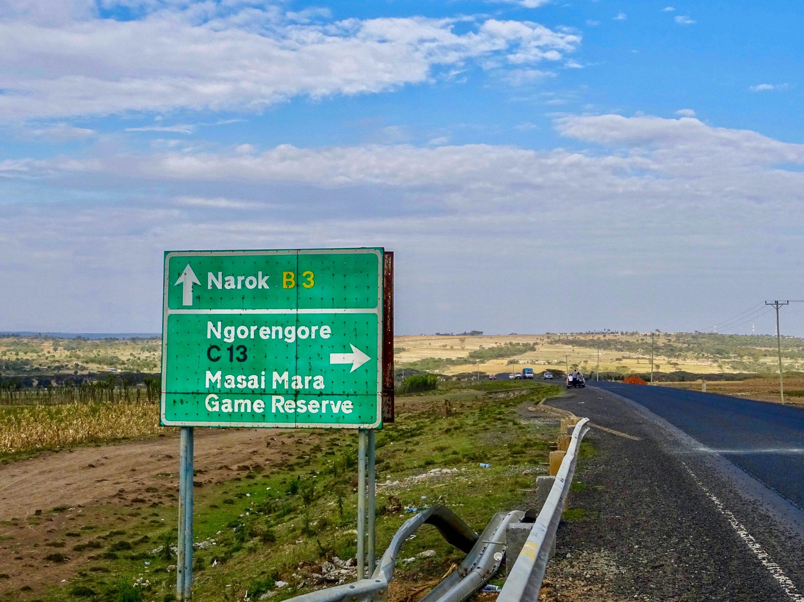 Afslag naar Masai Mara Game Reserve
