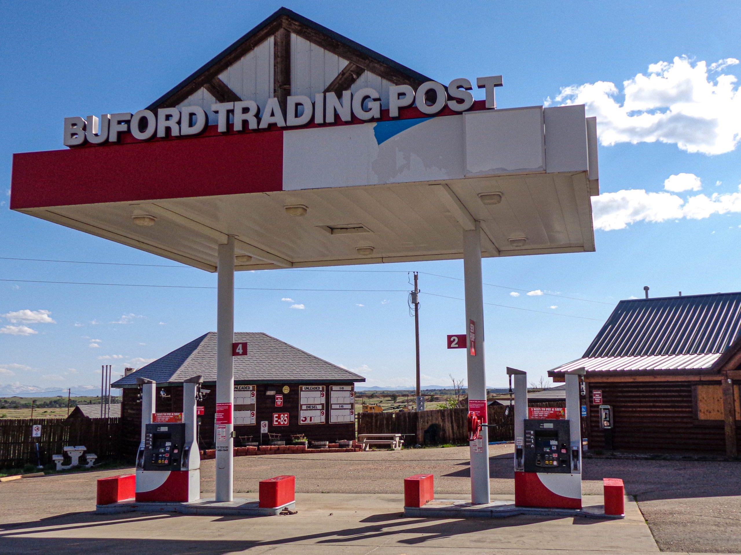 Een verlaten Buford Trading Post in 2013