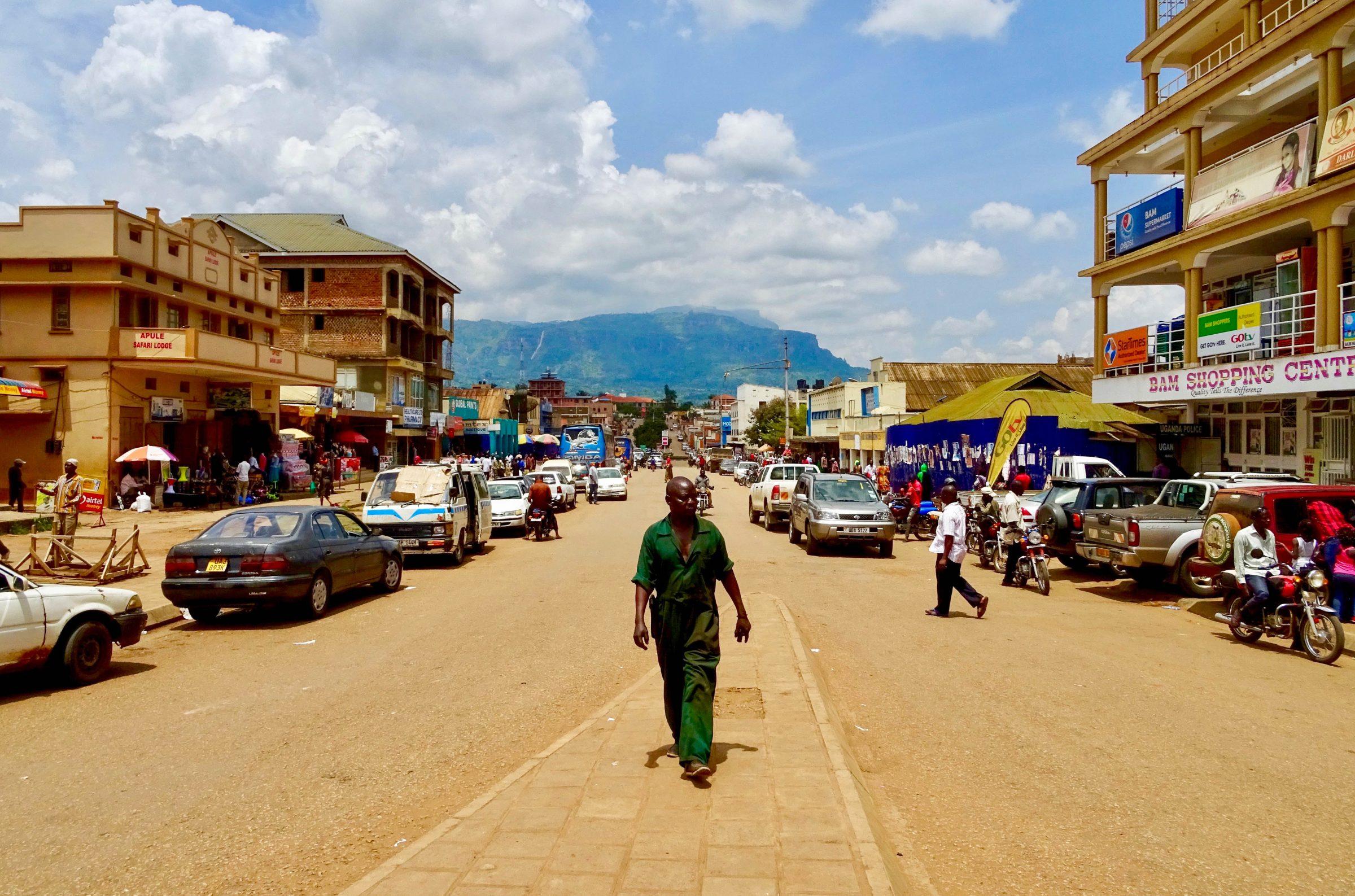 Het centrum van Mbale in Oeganda