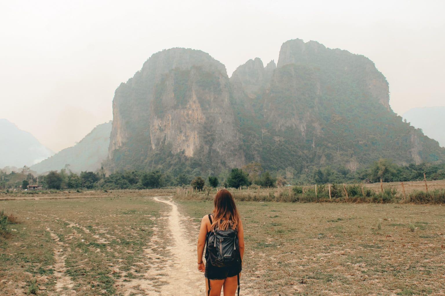 De karstgebergten in Vang Vieng