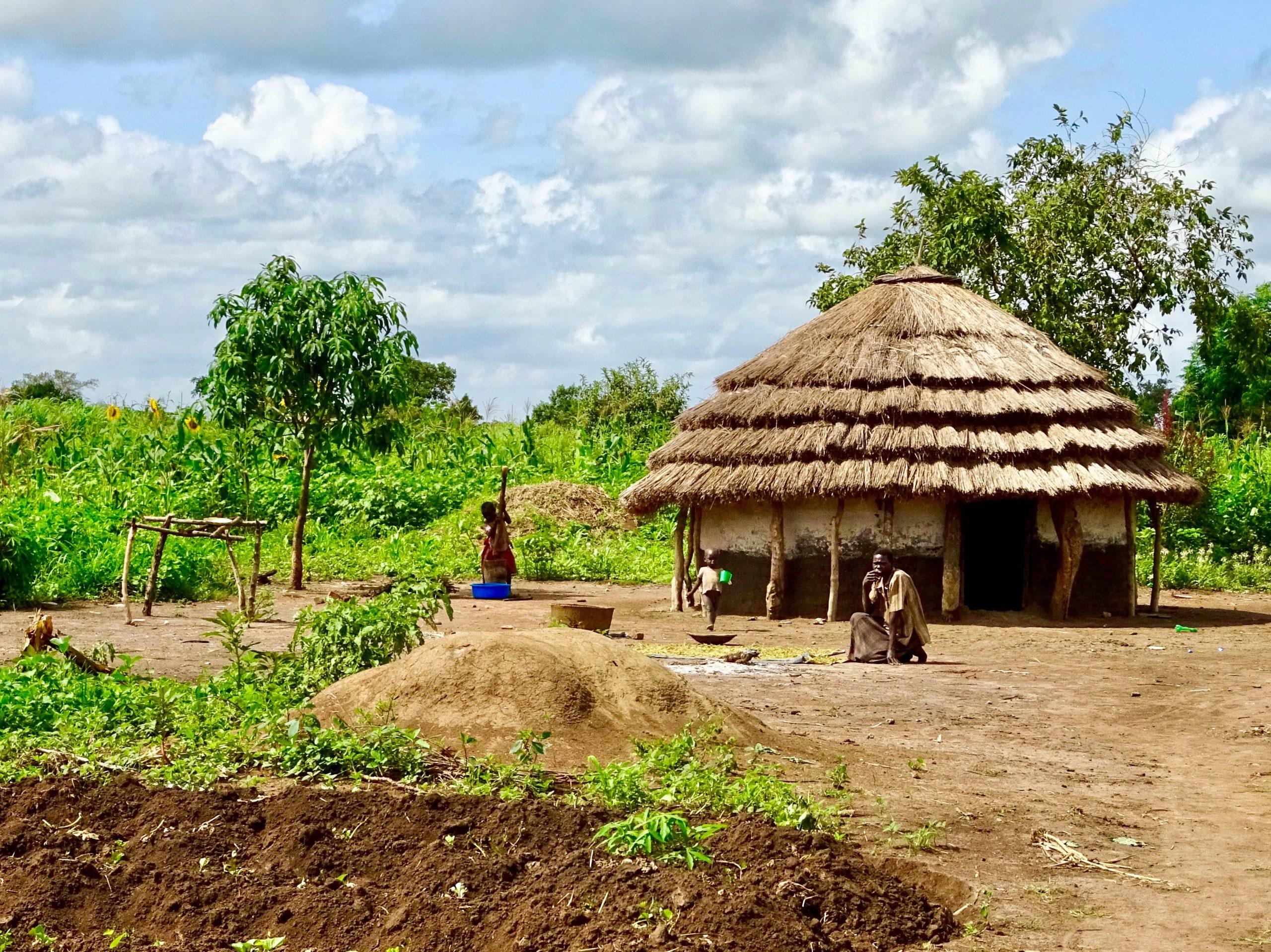 Traditionele hut met moestuin en bewoners