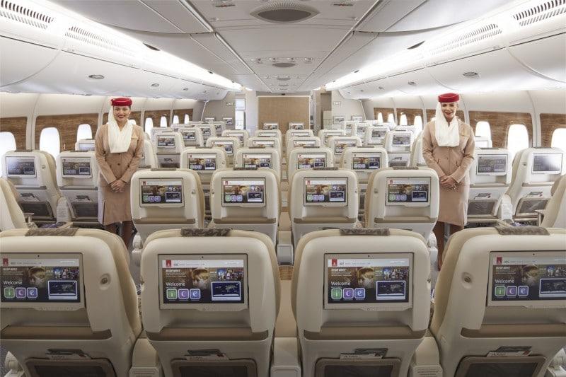 Emirates Airbus A380 premium economy cabine - achteraanzicht