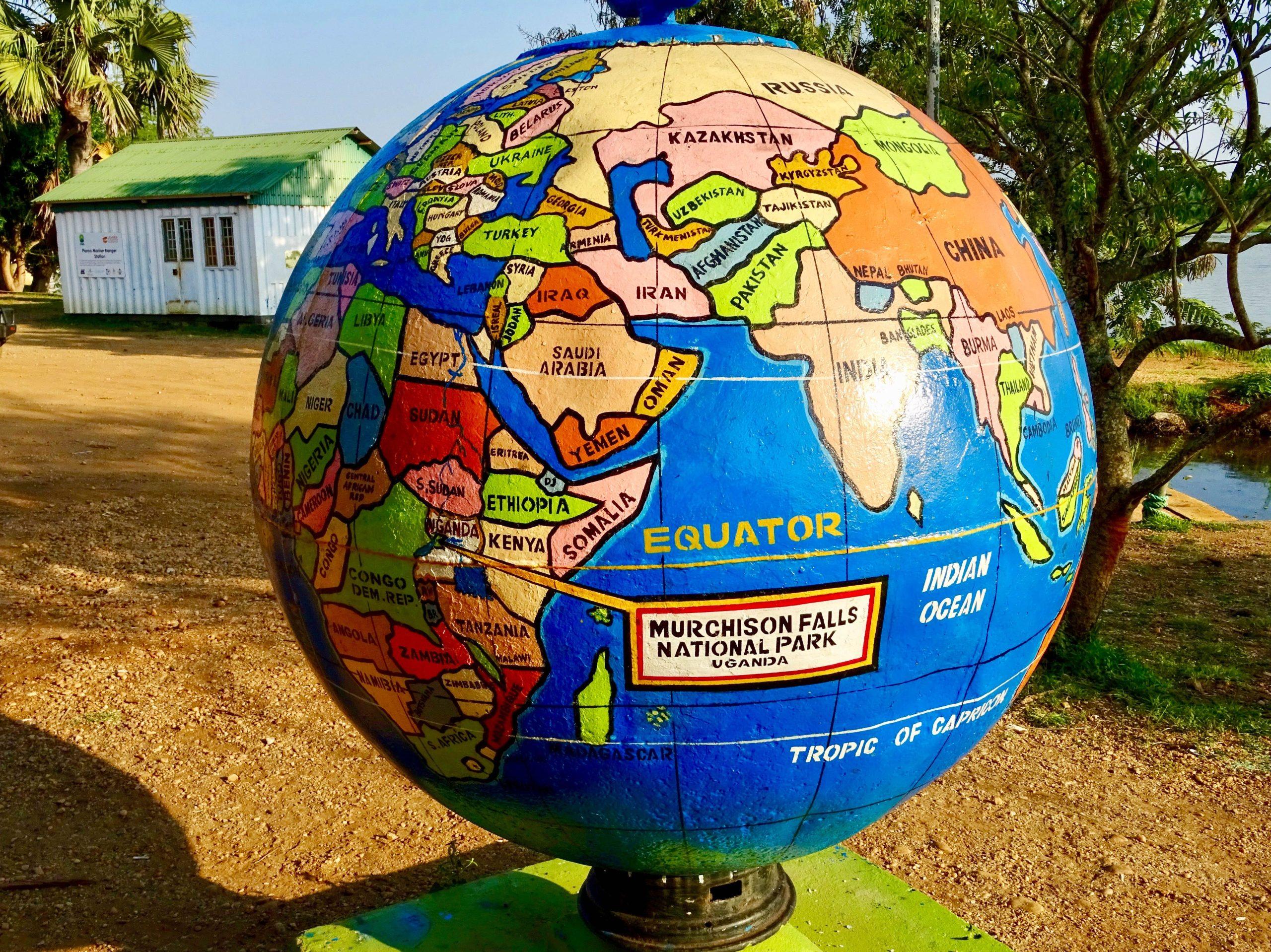 Wereldbol met locatie Murchison Falls National Park