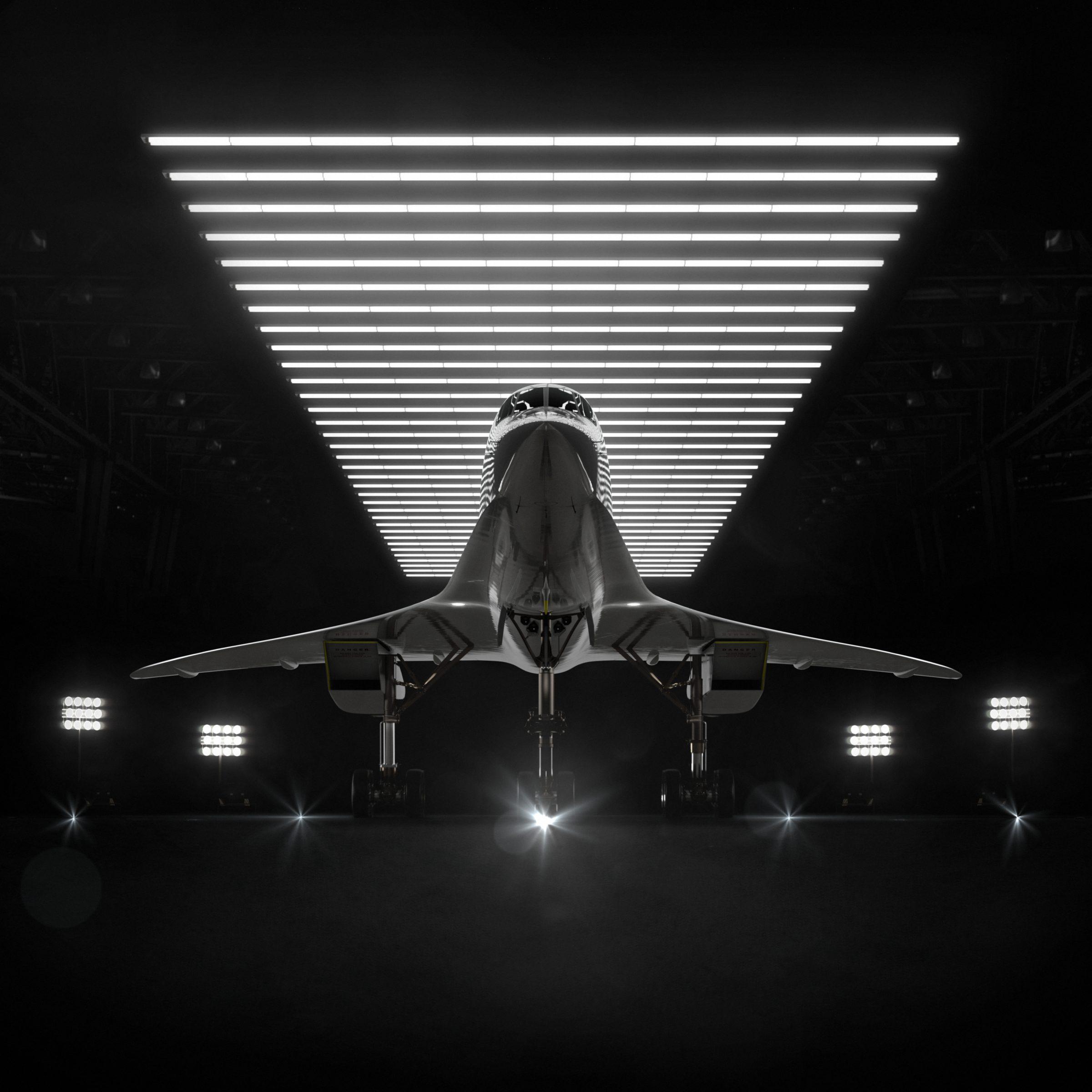 Een render van de Overture in een Hangar