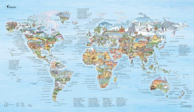 Hike en wandel wereldkaart