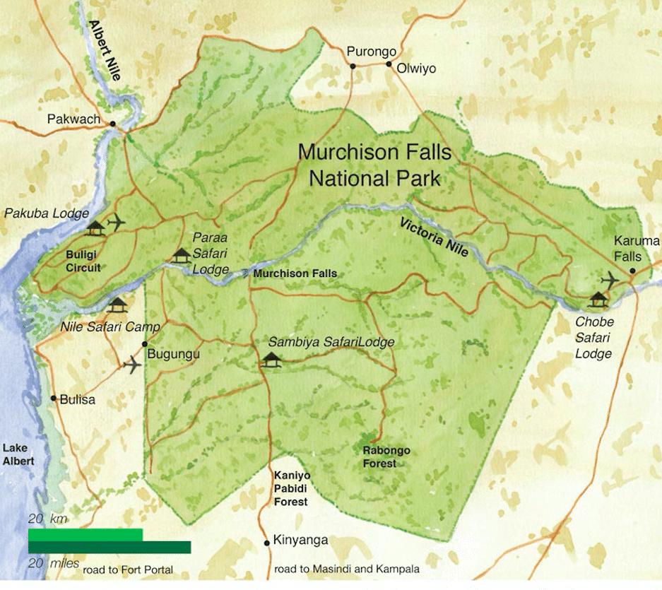 Kaart Murchison Falls National Park