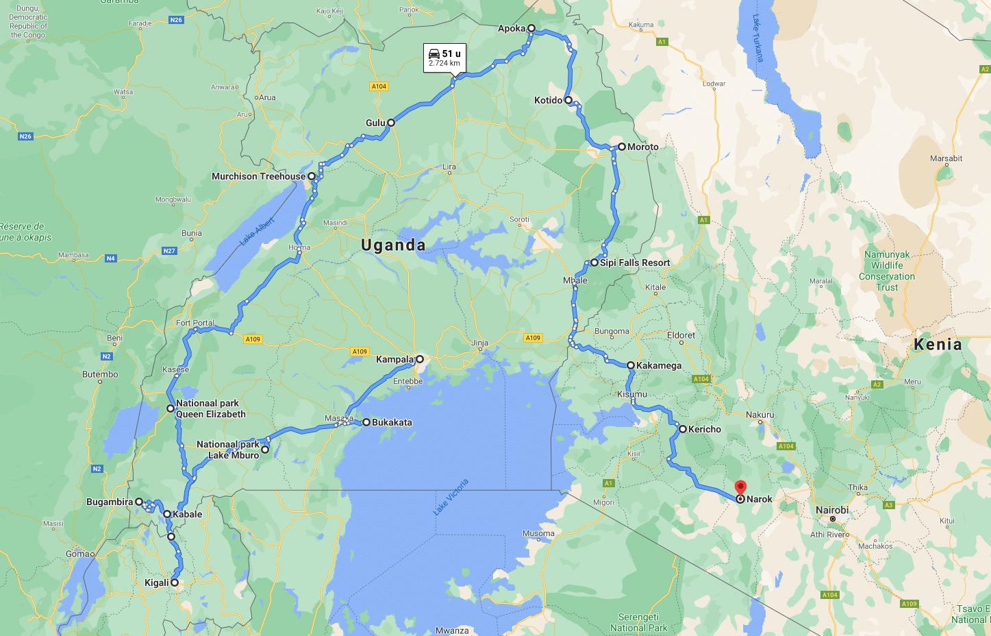 De reisroute door Oost-Afrika op Google Maps