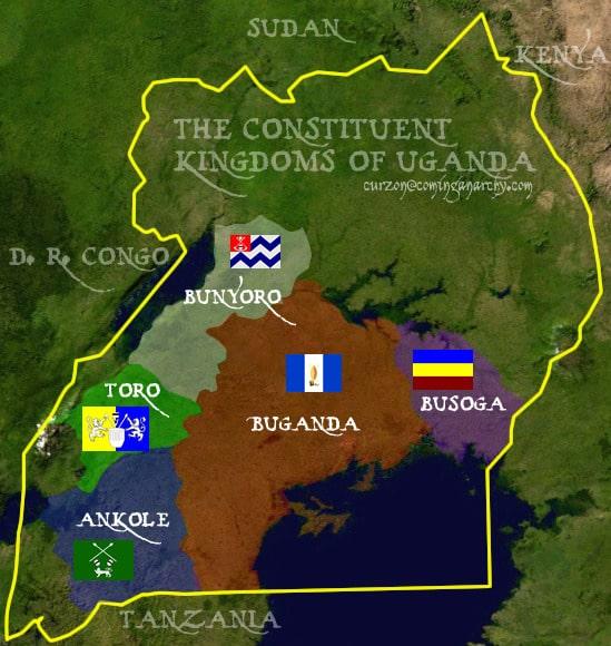 De ligging van de vijf koninkrijken van Oeganda