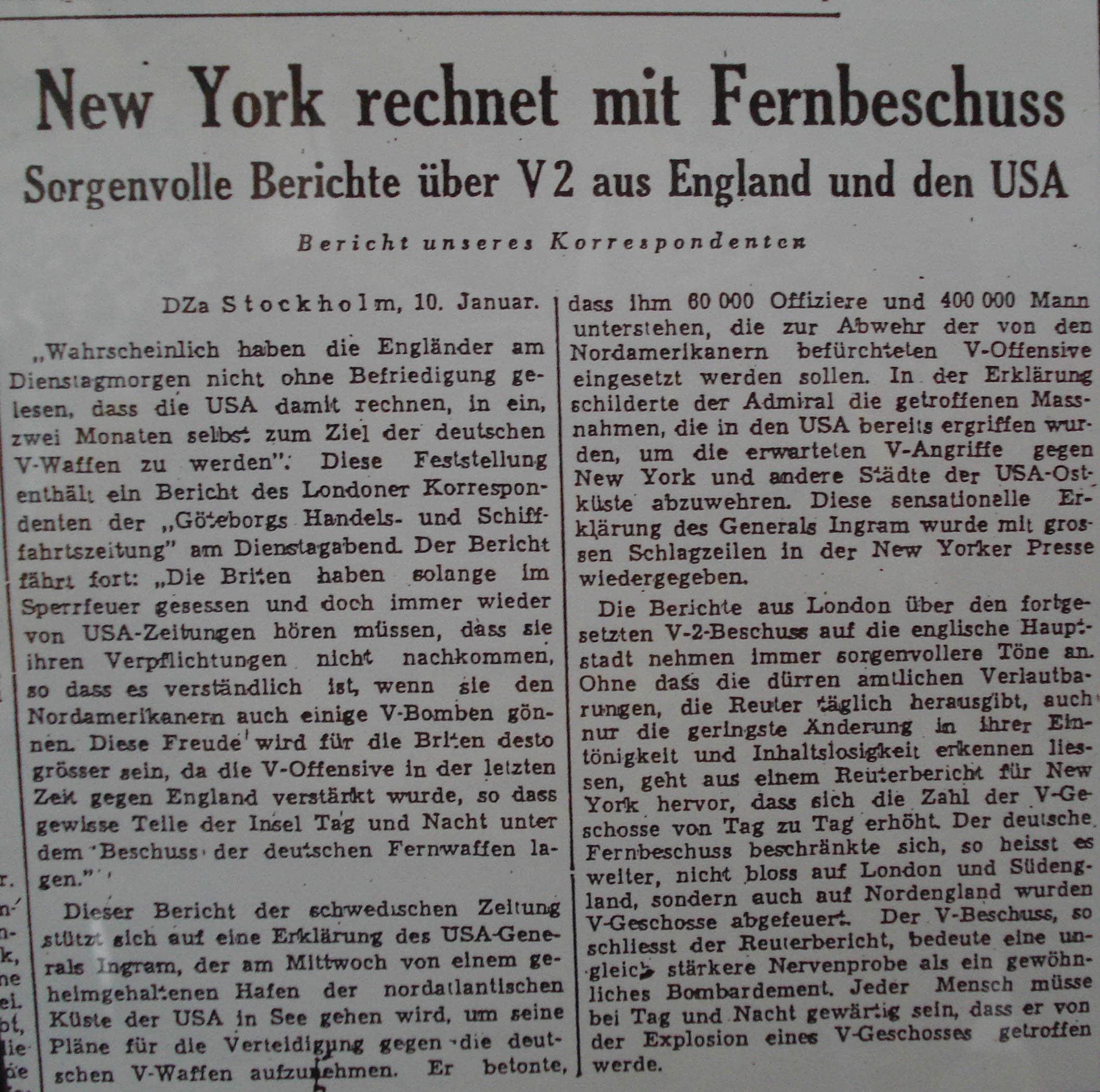 Op 10 januari 1945 is de angst voor een V2 aanval op New York groot