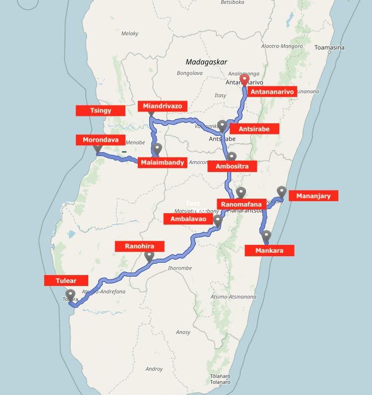 Route scooter rondreis 2017 Madagaskar