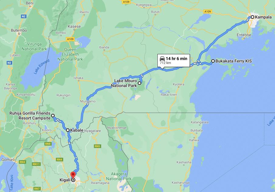 Reisroute deel 1: Kampala - Kigali