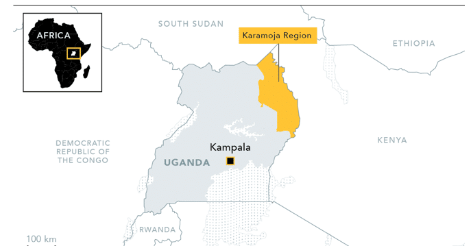 Kaart van de Karamoja regio in Oeganda