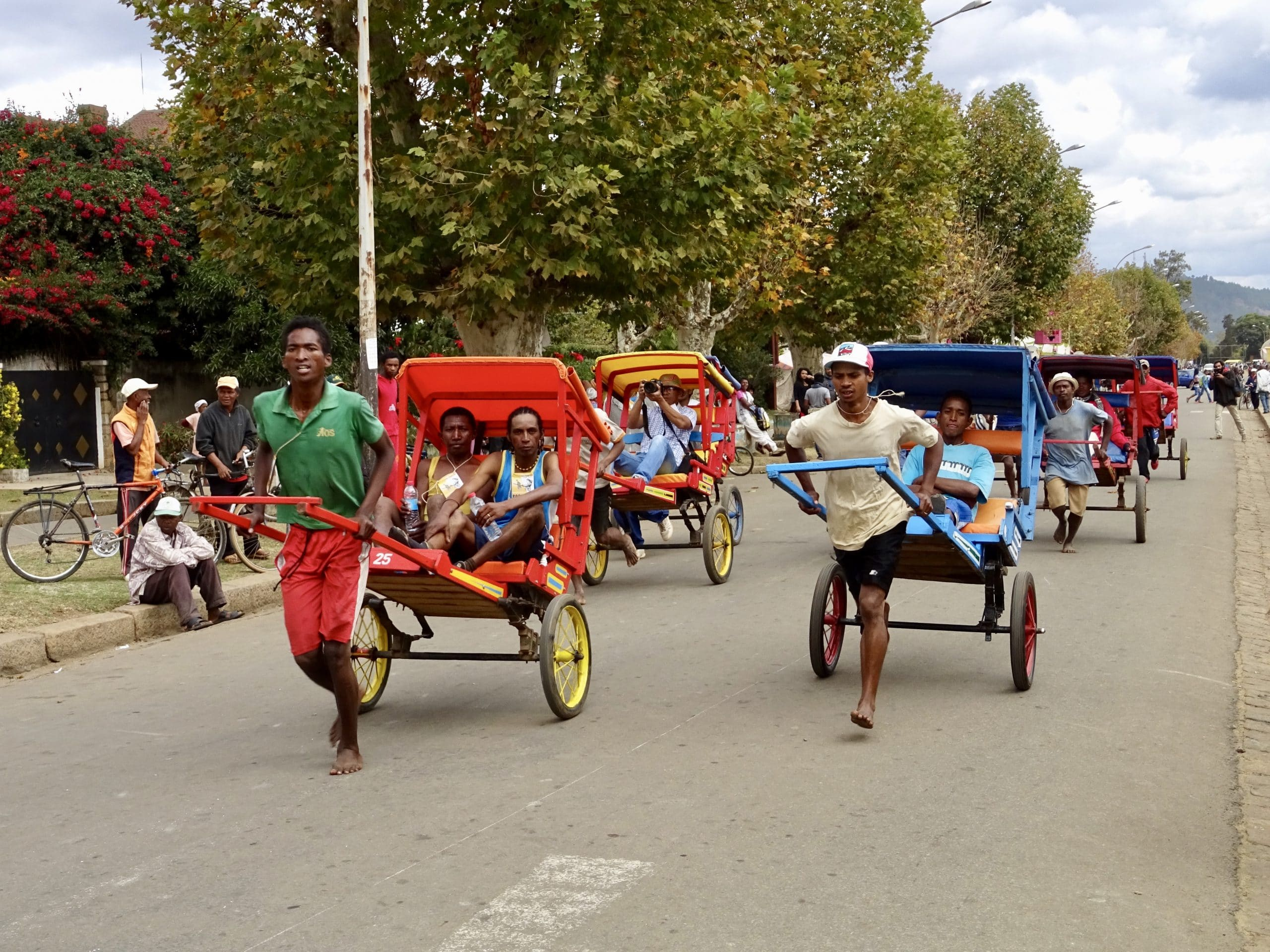 Pousse pousse taxi's in Antsirabe