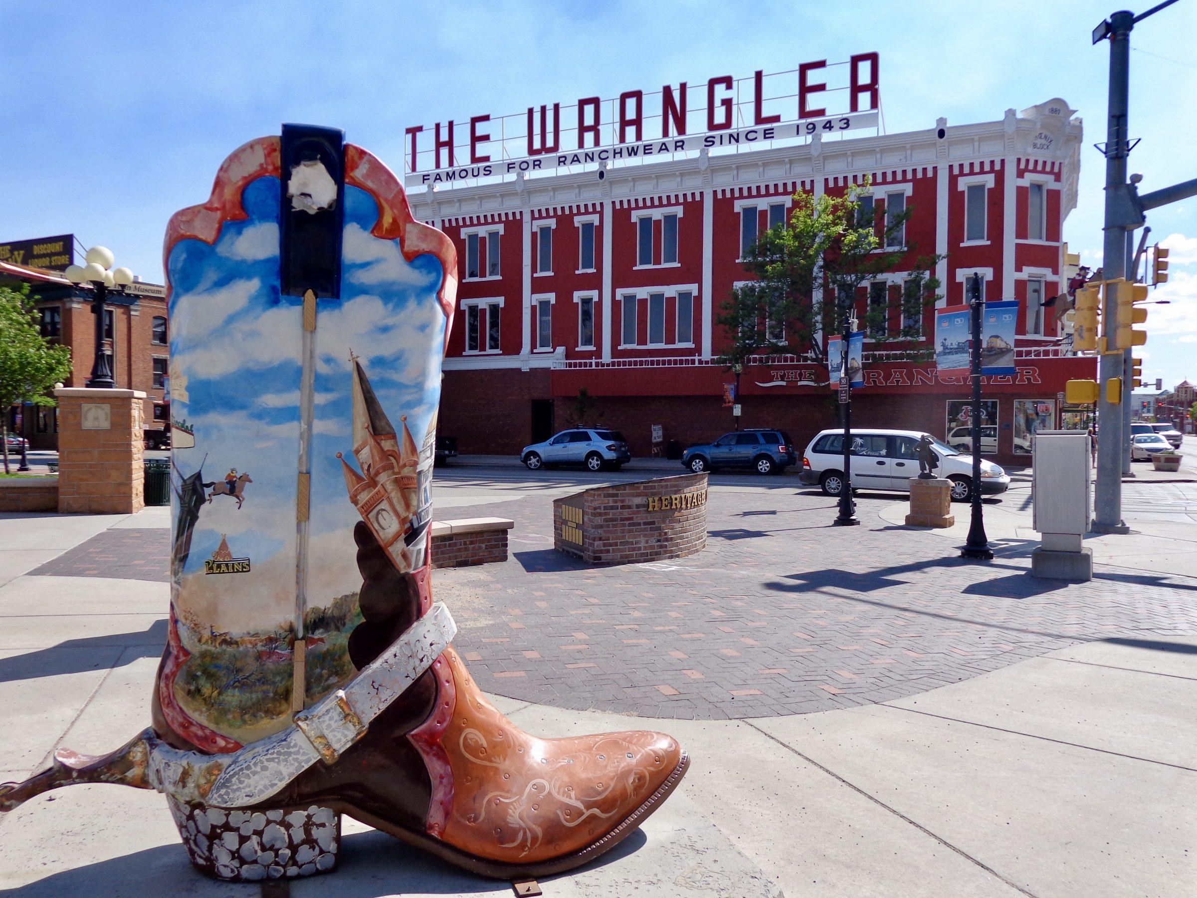 Een cowboylaars in het centrum van Cheyenne, Wyoming