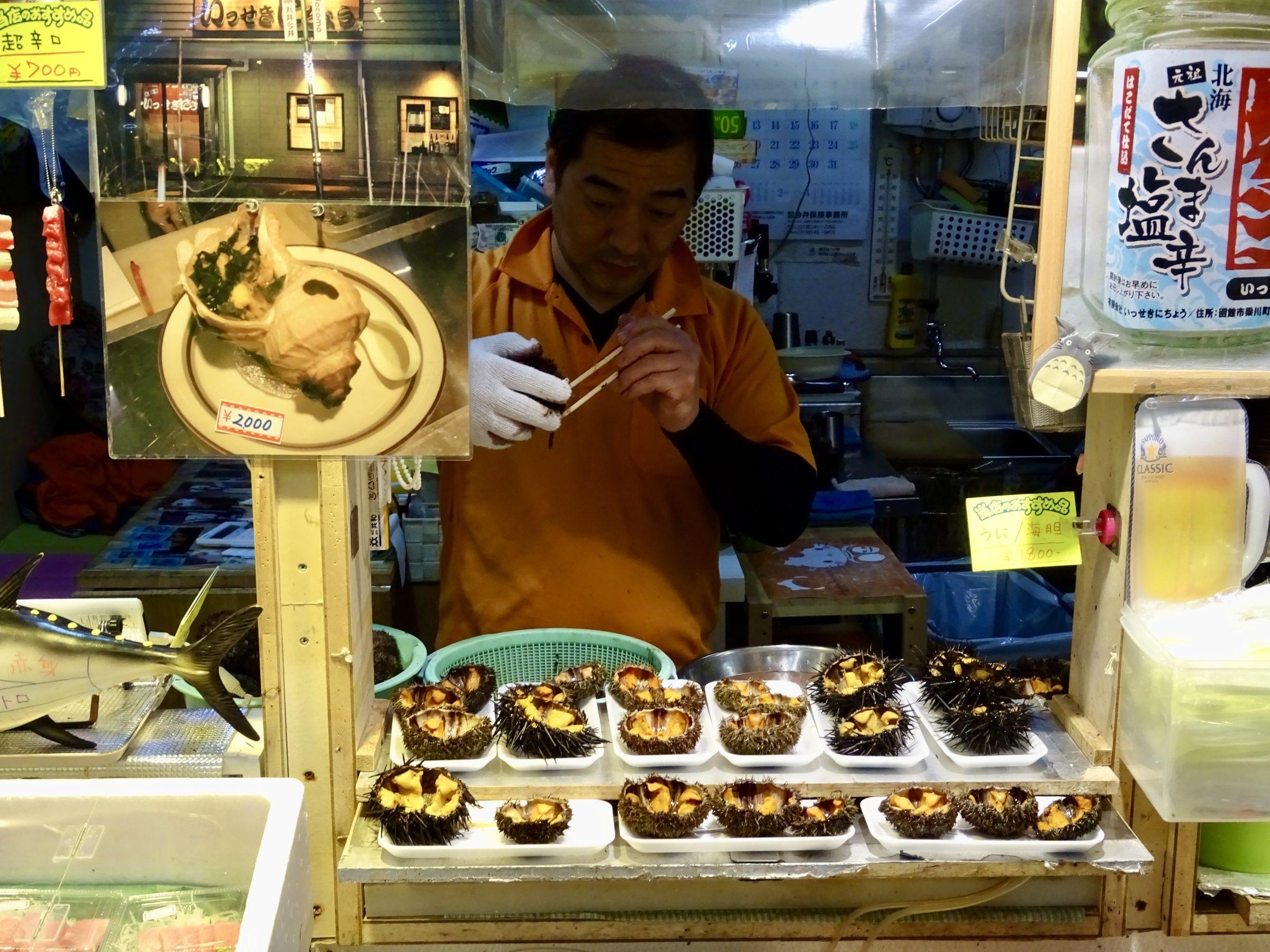 De ochtendmarkt in Hakodate