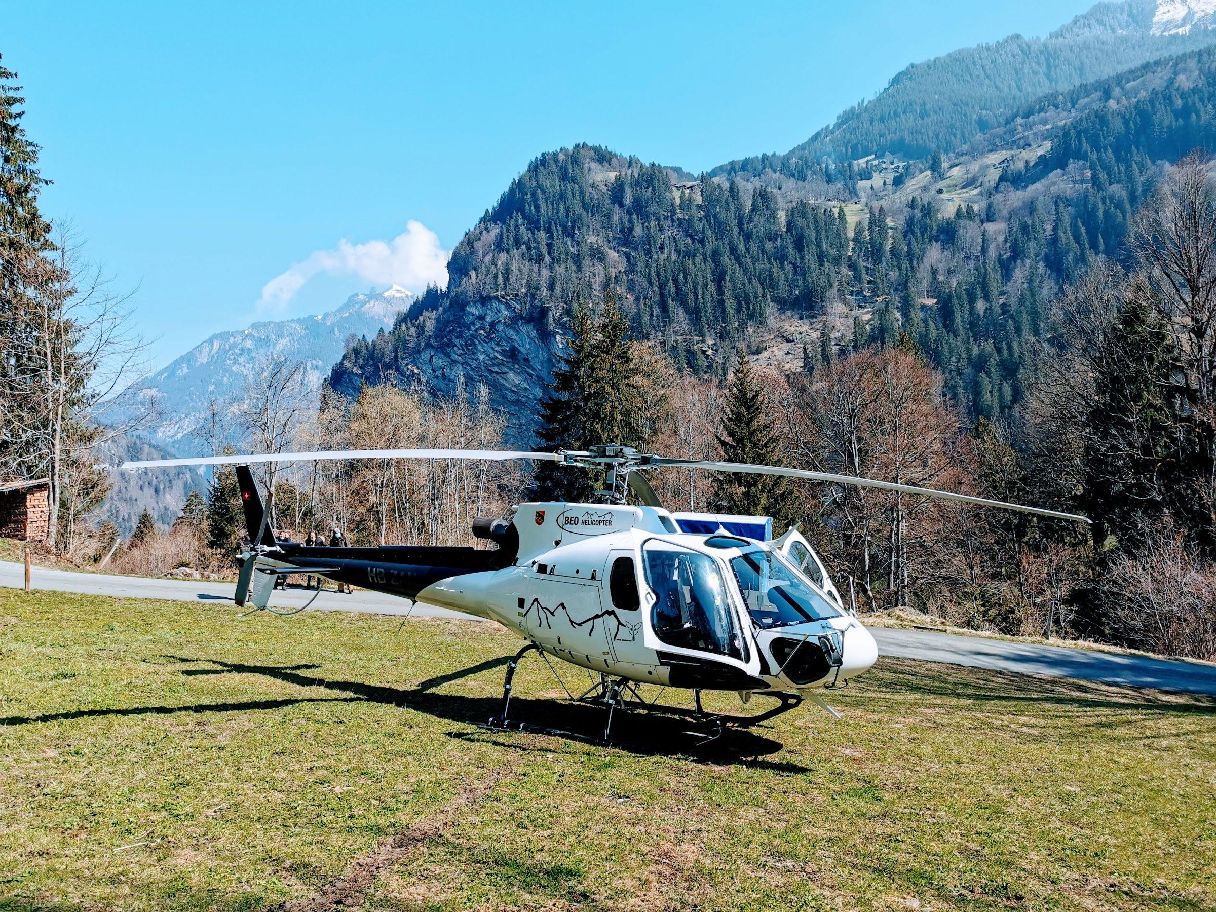 De helicopter waar we mee op de gletsjer gaan landen