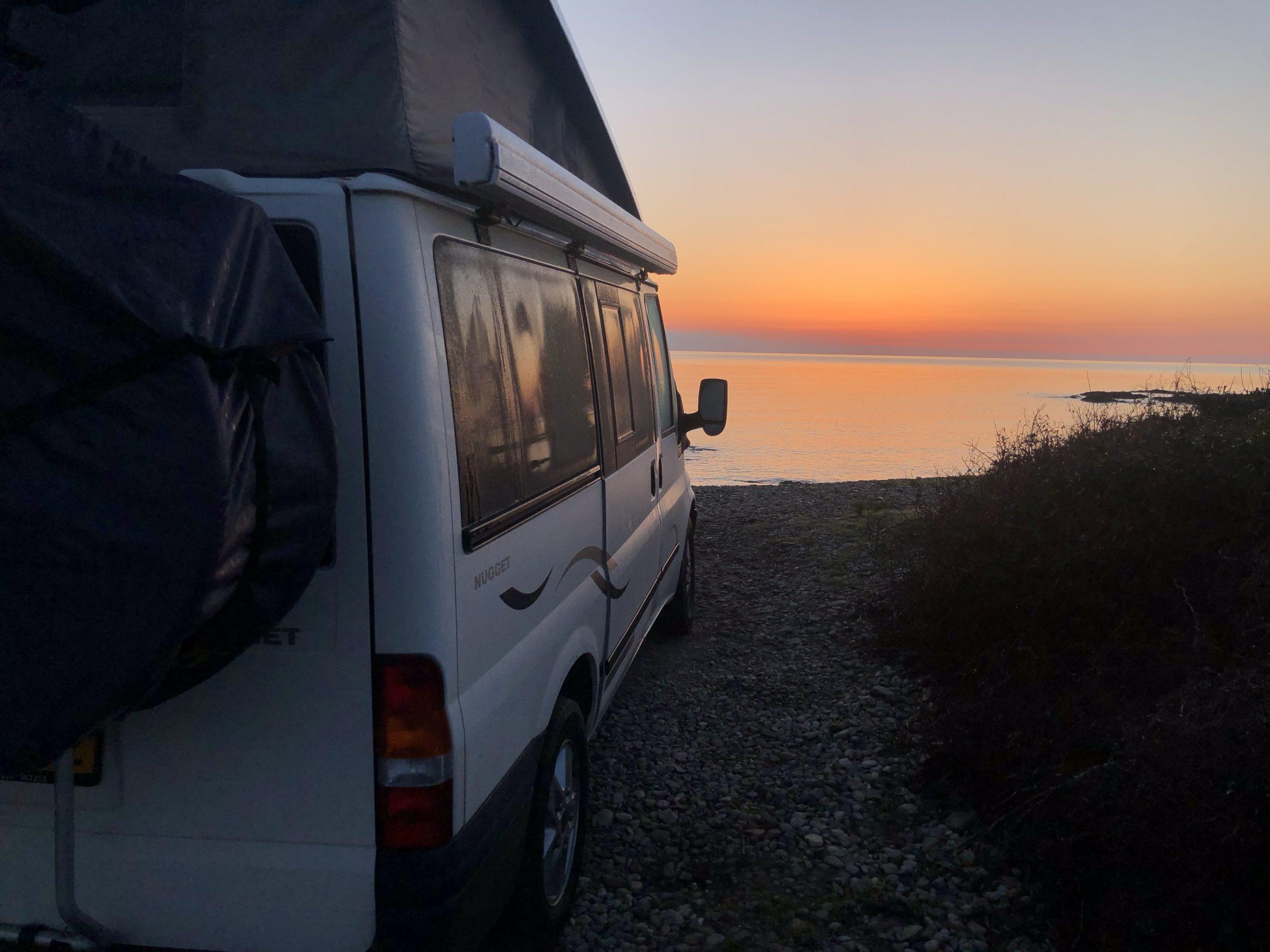 Een mooie camperplek aan de kust