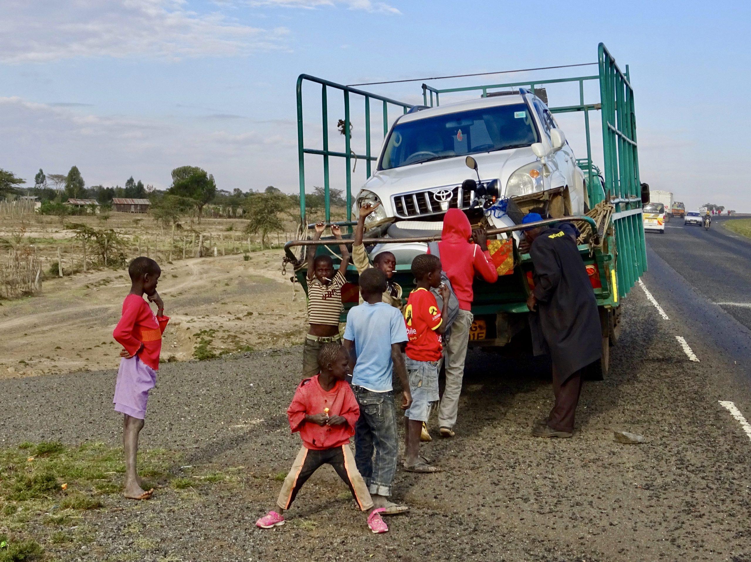 In de pickup truck richting Nairobi