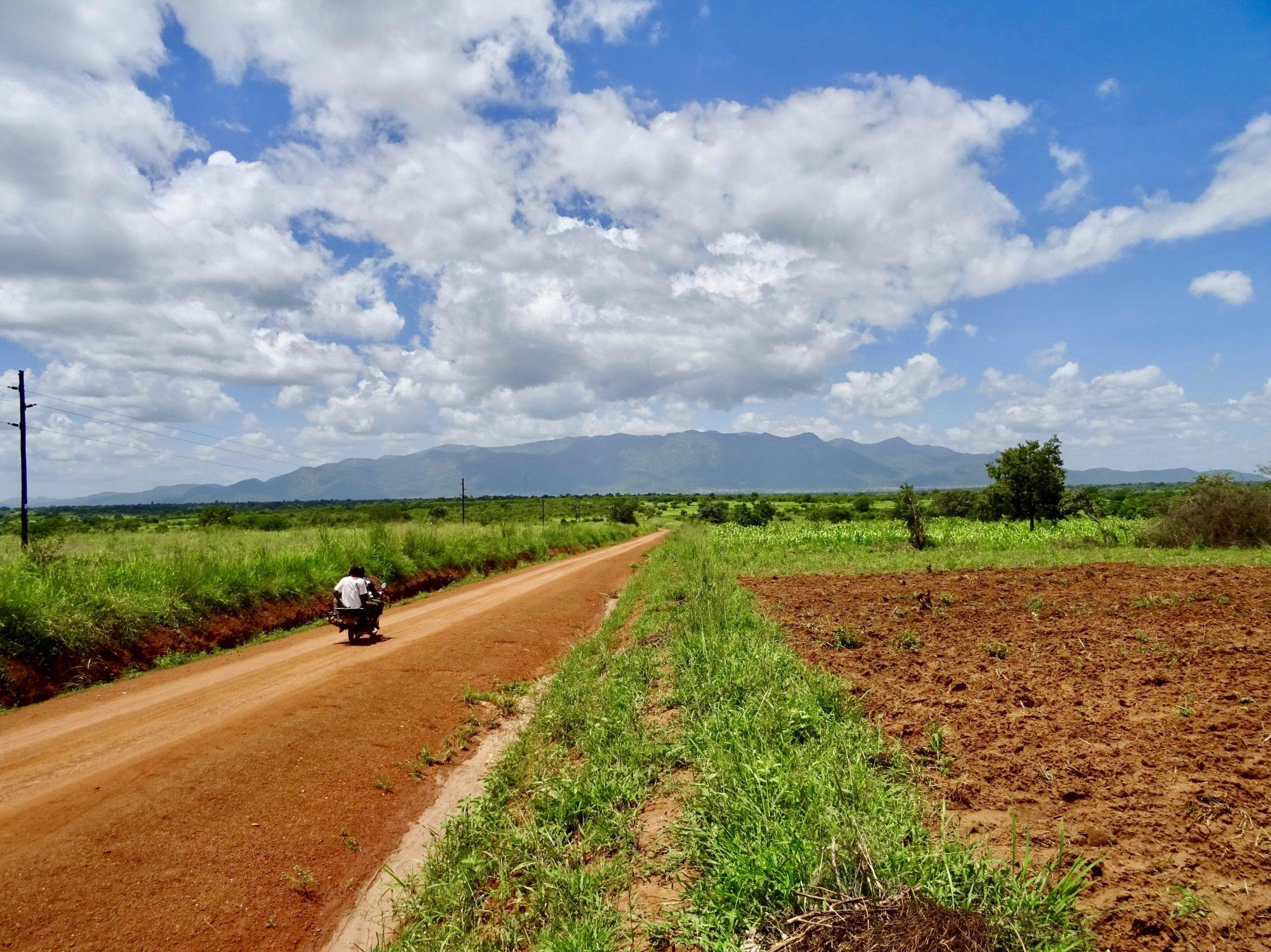 Kaarsrechte weg op 70 km van Kidepo