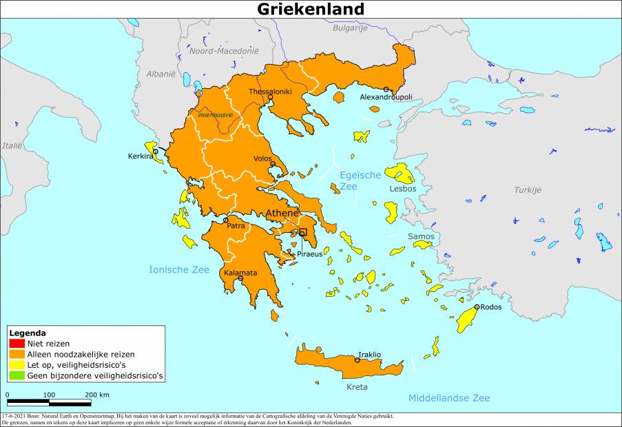 Reisadvies Griekenland per 17 Juni 2021