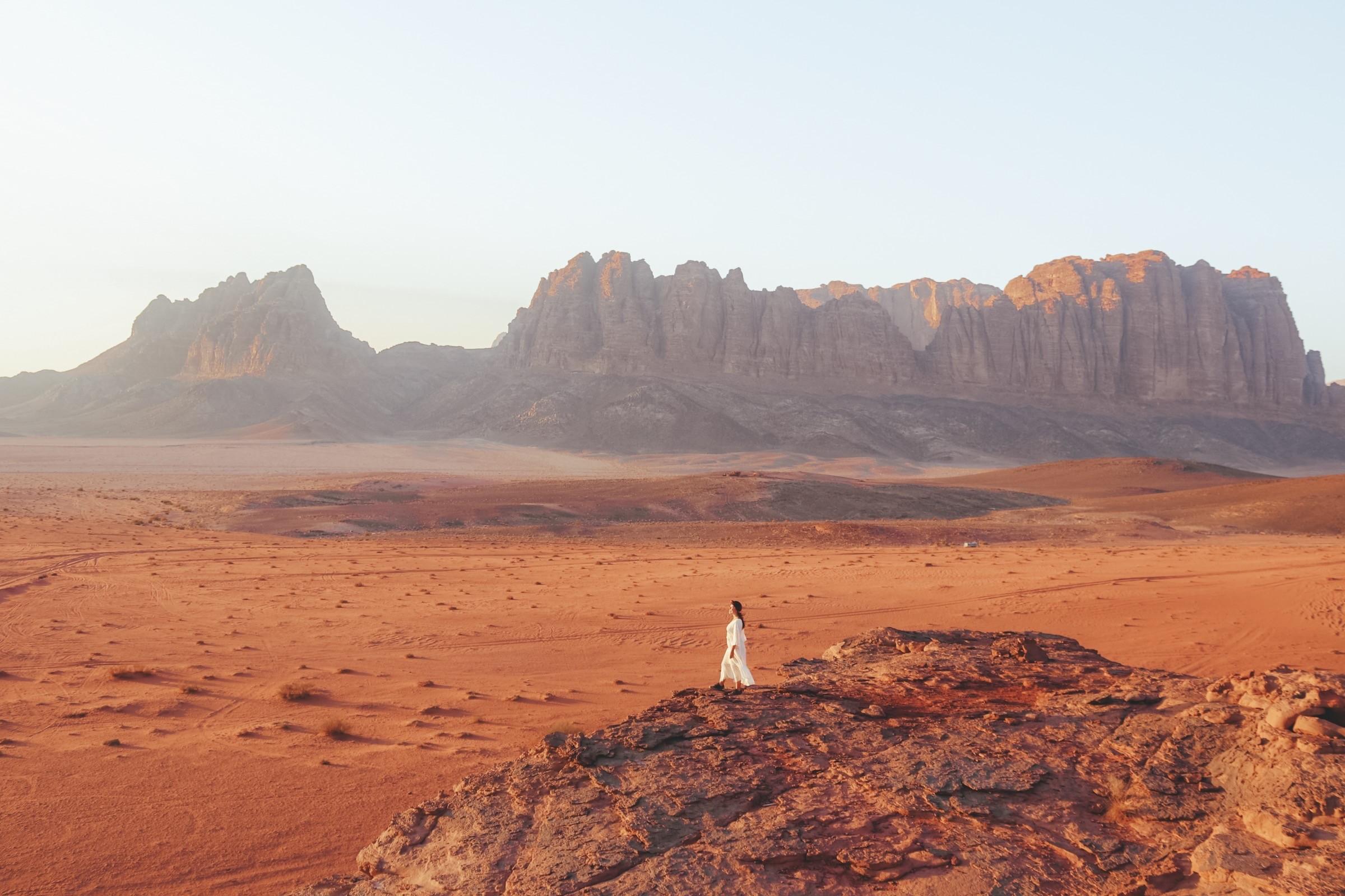 Zonsondergang in Wadi Rum, Jordanië